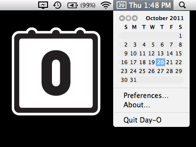 A screenshot of Day-O, showing a menu bar item with calendar dropdown